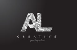AL A L Letter Logo with Zebra Lines Texture Design Vector. Royalty Free Stock Images