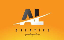 AL A L Letter Modern Logo Design with Yellow Background and Swoo Royalty Free Stock Image