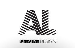 AL A L Lines Letter Design with Creative Elegant Zebra Royalty Free Stock Photography