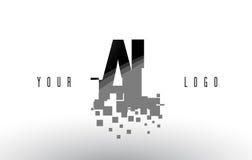 AL A L Pixel Letter Logo with Digital Shattered Black Squares Stock Photos