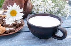 Al lado de las galletas y de las flores de la manzanilla cerca de la jarra es una taza de leche fotografía de archivo