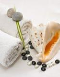 Al lado de las toallas del caracol de un claro del shell, guijarros brillantes Foto de archivo libre de regalías
