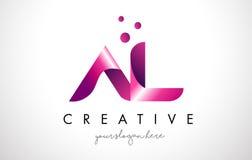 AL Letter Logo Design con i colori porpora ed i punti Fotografia Stock Libera da Diritti