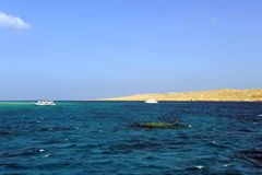 AL-MAHMYA INSEL, ÄGYPTEN - 17. OKTOBER 2013: Al-Mahmya ist ein Nationalpark mit Paradiesstrand und großer Touristenattraktion von Stockfotografie