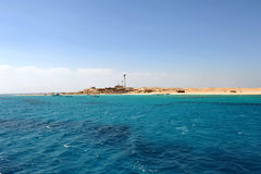 AL-MAHMYA ISLAND, EGYPT - OCTOBER 17, 2013: Al-Mahmya is a National Park with paradise beach and big tourist attraction of Egypt. Here comes a lot of tourists Stock Photos