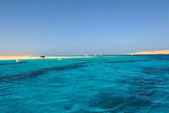 AL-MAHMYA ISLAND, EGYPT - OCTOBER 17, 2013: Al-Mahmya is a National Park with paradise beach and big tourist attraction of Egypt. Here comes a lot of tourists Stock Images