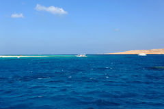 AL-MAHMYA ISLAND, EGYPT - OCTOBER 17, 2013: Al-Mahmya is a National Park with paradise beach and big tourist attraction of Egypt. Here comes a lot of tourists Stock Image