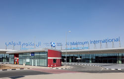 Al Maktoum International Airport i Dubai Royaltyfria Bilder