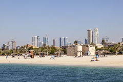 Al Mamzar海滩在迪拜 图库摄影