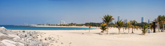 Al Mamzar Beach and Park. Panoramic view. stock photos
