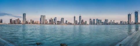 Al-Mamzar sjö i Sharjah Royaltyfri Bild