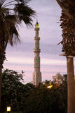 Al Mina Mosque. The Al-Mina Mosque also known as the Grand Mosque of Hurghada is the largest mosque in the city, with beautiful domes, towering minarets, and Royalty Free Stock Photo