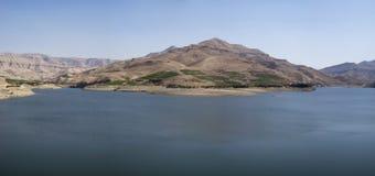 Al Mujib fördämning, Wadi Mujib, södra Jordanien Arkivbilder