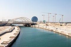 Al Muneera Canal i Abu Dhabi Royaltyfria Foton