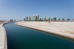 Al Muneera Canal i Abu Dhabi Arkivbilder
