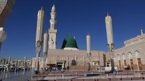 Al Nabawi Masjid ή μουσουλμανικό τέμενος μουσουλμανικών τεμενών Nabawi του προφήτη σε Medina απόθεμα βίντεο