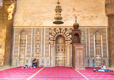 Al-Nasr Muhammad Mosque. CAIRO, EGYPT - OCTOBER 9, 2014: The interior of Al-Nasr Muhammad Mosque with the beautiful mosaics on the wall, on October 9 in Cairo Royalty Free Stock Photography