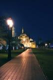 Al Noor清真寺在晚上 库存照片