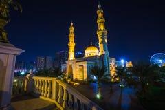 Al Noor Moskee in Sharjah bij nacht Stock Fotografie