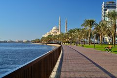 Al Noor mosque, Al Buhaira corniche and skyscrspers in Sharjah Stock Images