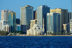 Al Noor mosque, Al Buhaira corniche and skyscrspers in Sharjah Stock Image
