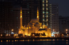 Al Noor Mosque, Sharjah. Al Noor Mosque in Sharjah City at night. United Arab Emirates Royalty Free Stock Photography
