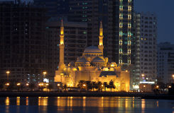 Al Noor Mosque in Sharjah. City at night. United Arab Emirates Royalty Free Stock Photography