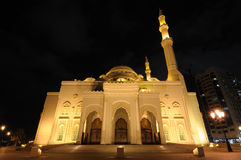 Al Noor Mosque in Sharjah. At night. United Arab Emirates Royalty Free Stock Image
