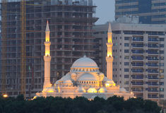 Al Noor Mosque in Sharjah. City at dusk, United Arab Emirates Stock Photography