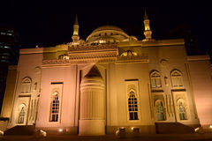 Al Noor Mosque at Sharjah. Al Noor mosque building in sharjah at night Royalty Free Stock Photo