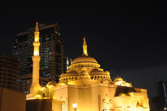 Al Noor Mosque in Sharjah City. At night. United Arab Emirates Stock Photography