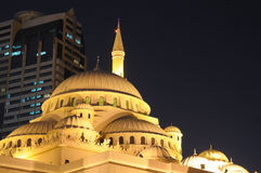 Al Noor Mosque in Sharjah City. At night. United Arab Emirates Royalty Free Stock Photos
