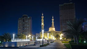 Al Noor Mosque in Sharjah at night timelapse stock footage