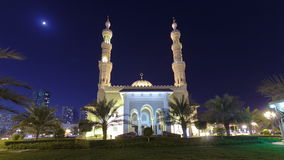 Al Noor Mosque in Sharjah at night timelapse stock video