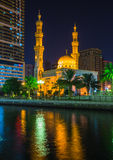 Al Noor Mosque in Sharjah at night Stock Photography