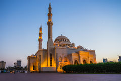 Al Noor Mosque in Sharjah at night. United Arab Emirates Royalty Free Stock Image