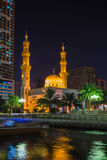 Al Noor Mosque in Sharjah at night stock photo