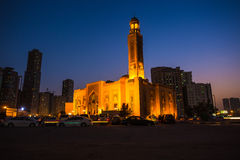 Al Noor Mosque in Sharjah at night Stock Photo