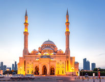 Al-Noor mosque, Sharjah, UAE. He Al Noor Mosque is a mosque in Sharjah. It is located on the Khaled lagoon at the Buhaira Corniche. It is of Turkish Ottoman Stock Photos