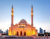 Al-Noormoské, Sharjah, UAE Arkivfoton