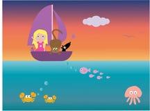 Al op zee vector illustratie
