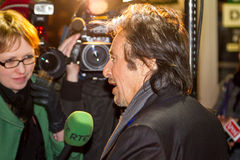 Al Pacino interview for RTE TV. DUBLIN, IRELAND - FEBRUARY 20: Al Pacino interviewed by RTE TV at premiere of his Wilde Salome movie in Dublin Savoy Cinema Royalty Free Stock Images