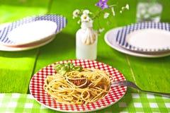 Al Pesto van de spaghetti Stock Afbeelding