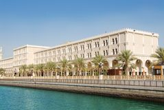 Al Qasba canal Sharjah. Canal, a landmark of Sharjah Royalty Free Stock Photo