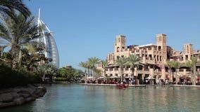 Al Qasr and Burj Al Arab hotels stock video footage