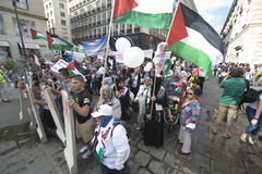Al Quds rally 2014 in Vienna. Against the war in Gaza on 26.07.2014 Royalty Free Stock Photos