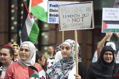 Al Quds rally 2014 in Vienna. Against the war in Gaza on 26.07.2014 Stock Photos