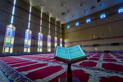 Al Quran inside the Masjid with Natural light. Ramadhan Greetings Al Quran inside the Masjid with Natural light Dammam Saudi Arabia stock image