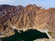 Al Rafisah水坝在Khor Fakkan在阿拉伯联合酋长国 免版税库存图片