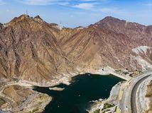 Al Rafisah Dam em Khor Fakkan em Emiratos Árabes Unidos fotografia de stock